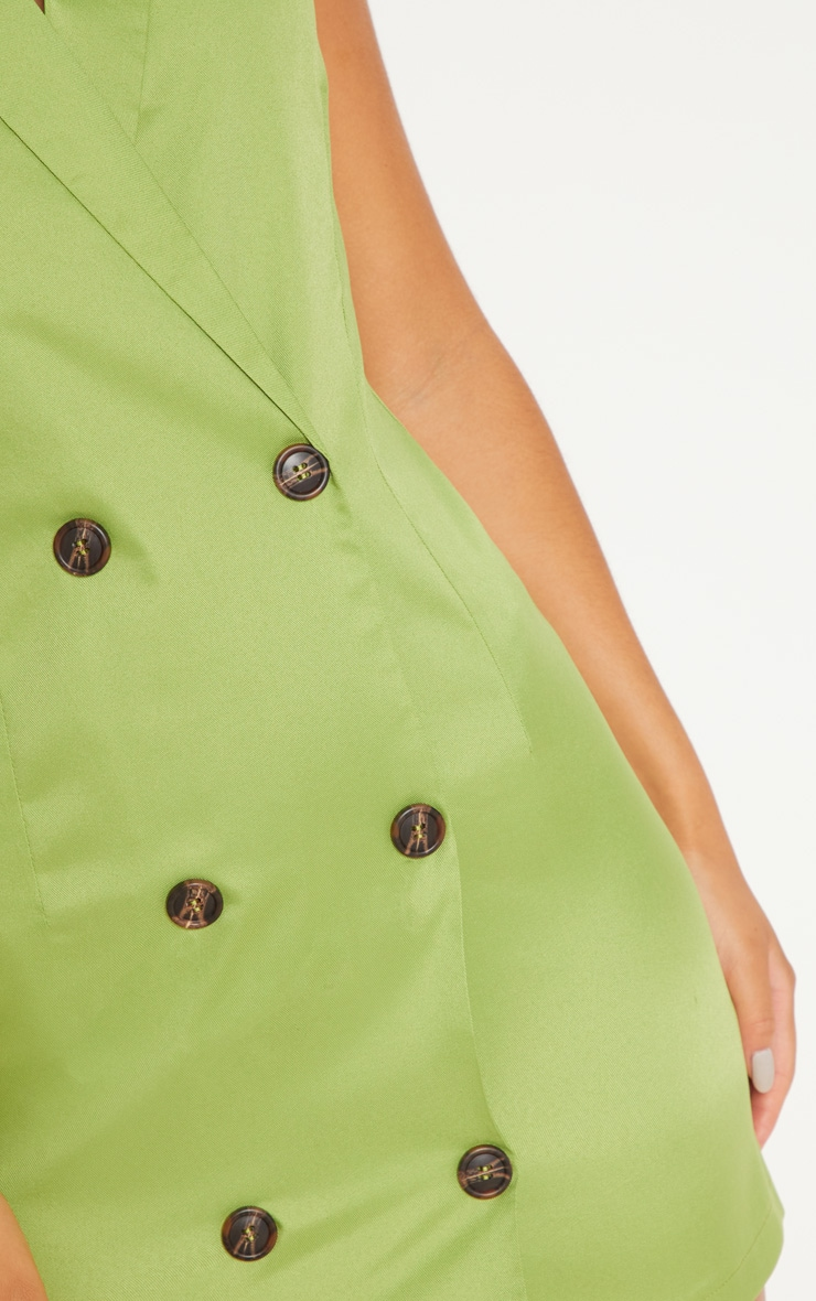 Lime Sleeveless Tortoise Button Detail Blazer Dress 5