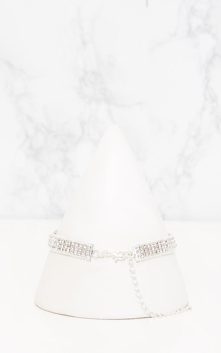 Silver Diamante Buckle Choker 3