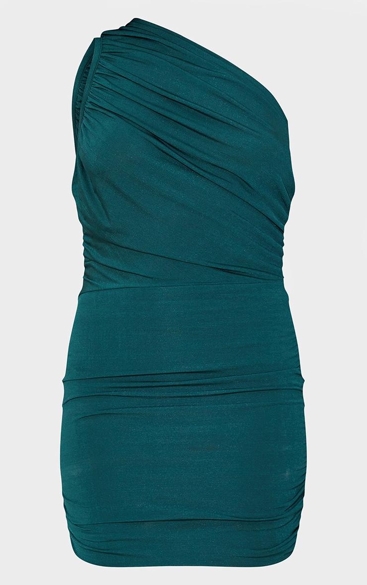 Petite Emerald Green Slinky Ruched One Shoulder Longline Midi Dress 6