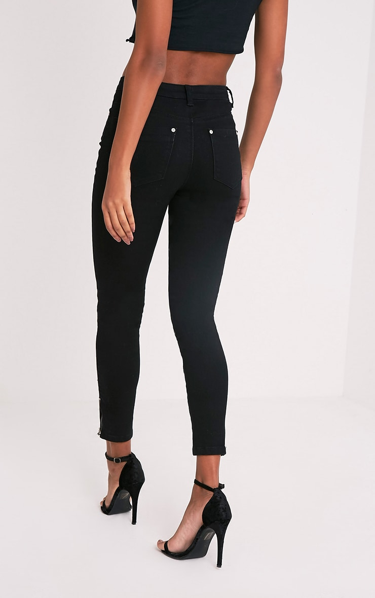 Black Button Detail High Waisted Skinny 2