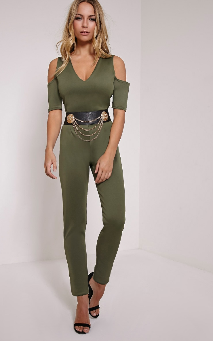 Melany Khaki Cut Out Shoulder Jumpsuit 1