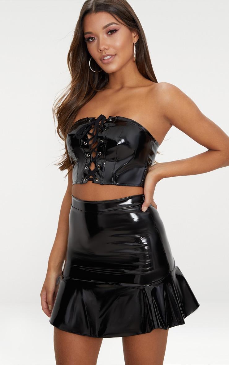 Black Vinyl Flippy Hem Mini Skirt  1