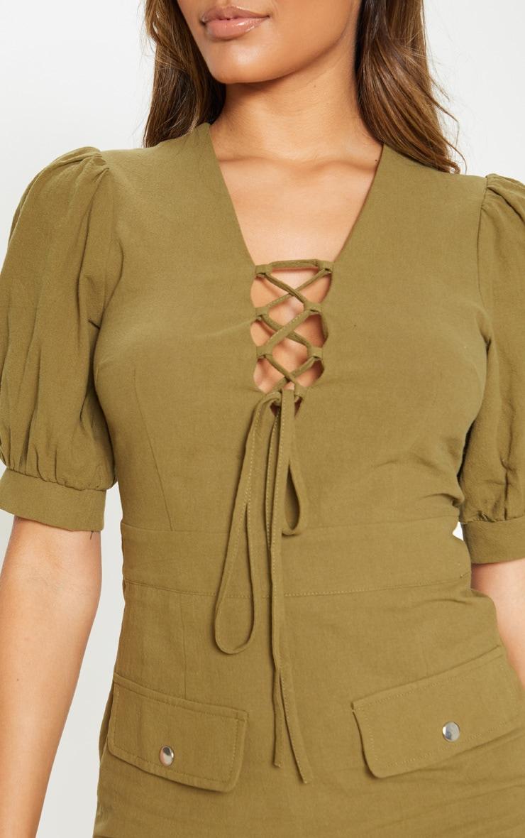 Khaki Lace Up Pocket Front Utility Dress 5