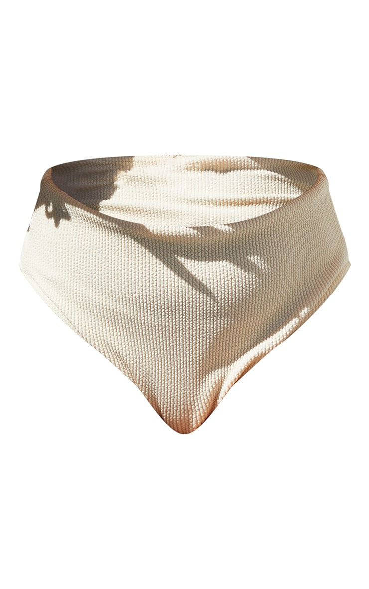 Plus Cream Crinkle High Waist Bikini Bottoms 5