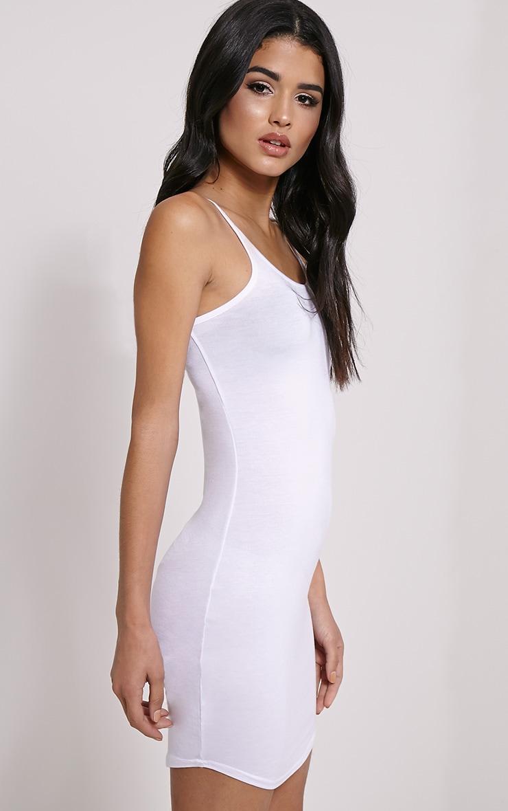 Basic White Jersey Strappy Mini Dress 4