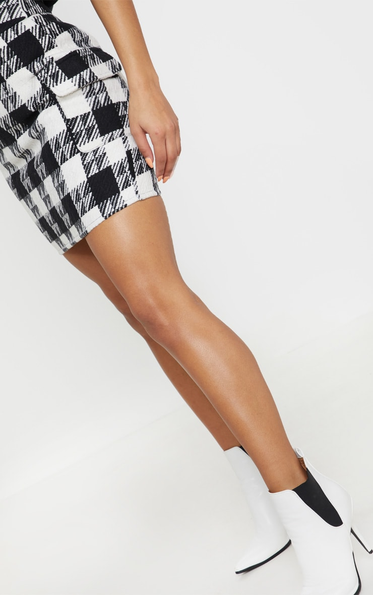 Black Check Oversized Pocket Tweed Mini Skirt 6