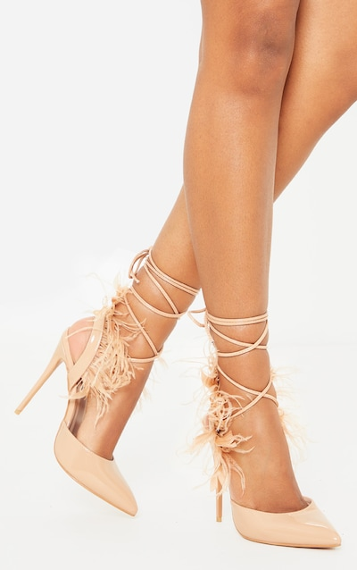 Nude Feather Heel Ankle Tie Court Shoe