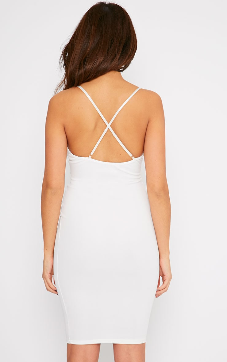 Nada Cream Plunge Cross Back Midi Dress 2
