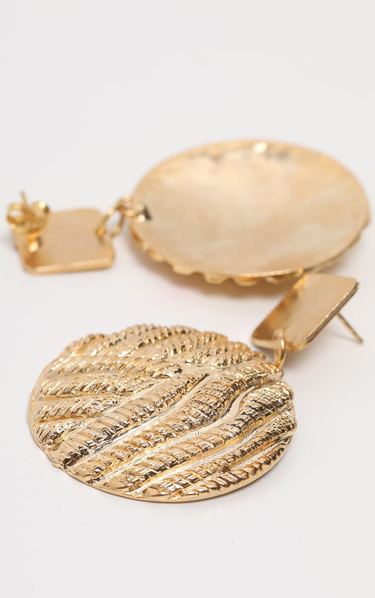 Gold Woven Texture Disc Drop Earrings 3
