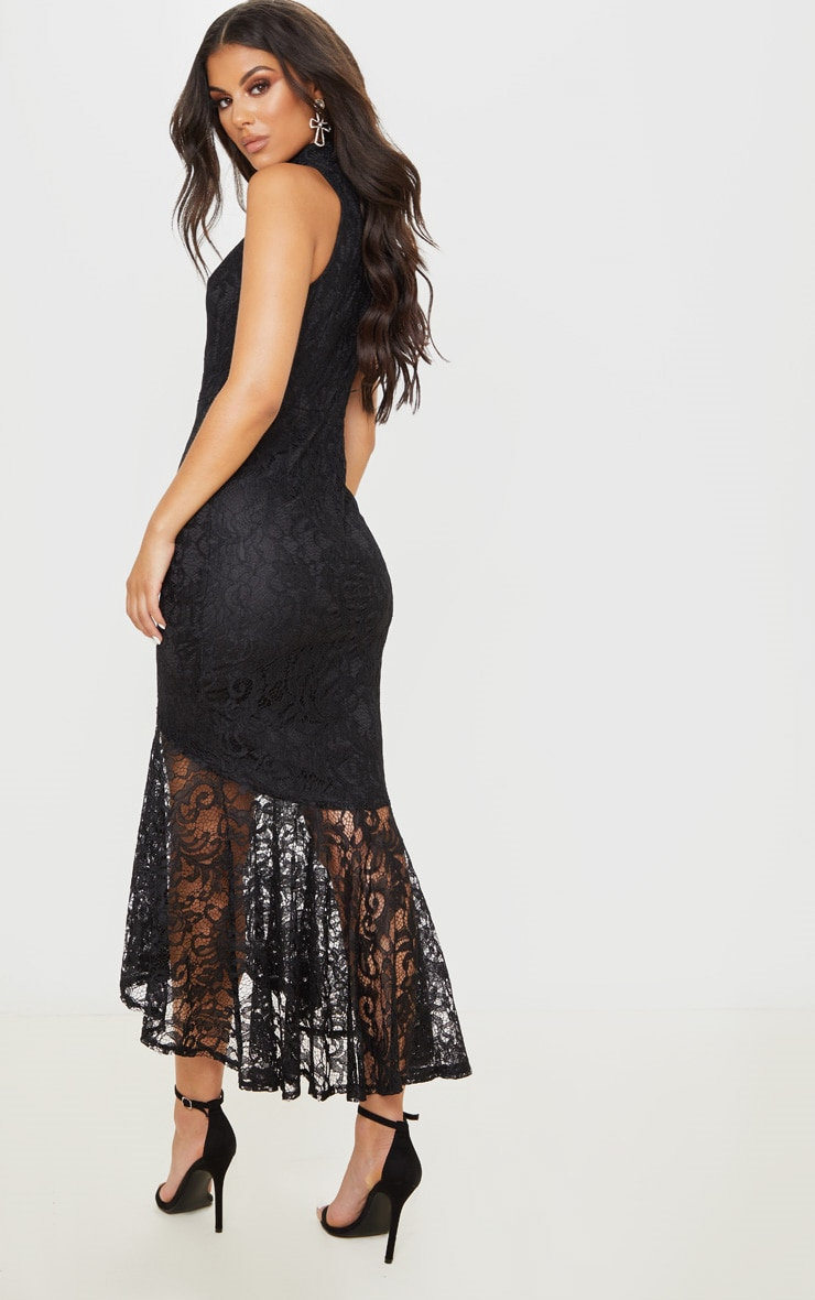 Black Lace High Neck Fishtail Midaxi Dress 2