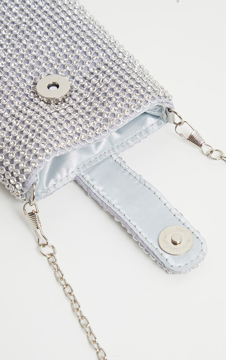 Silver Diamante Chainmail Phone Pouch Cross Body 2