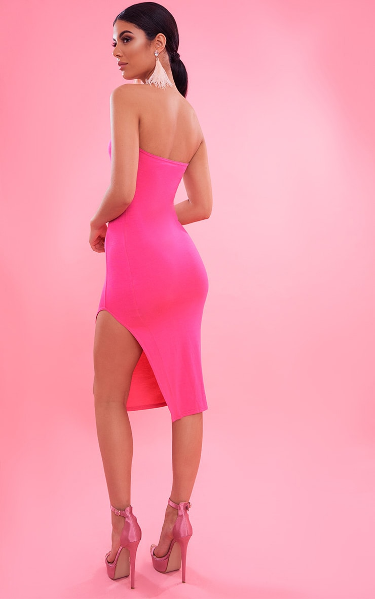 Hot Pink Bandeau Split Front Midi Dress 3