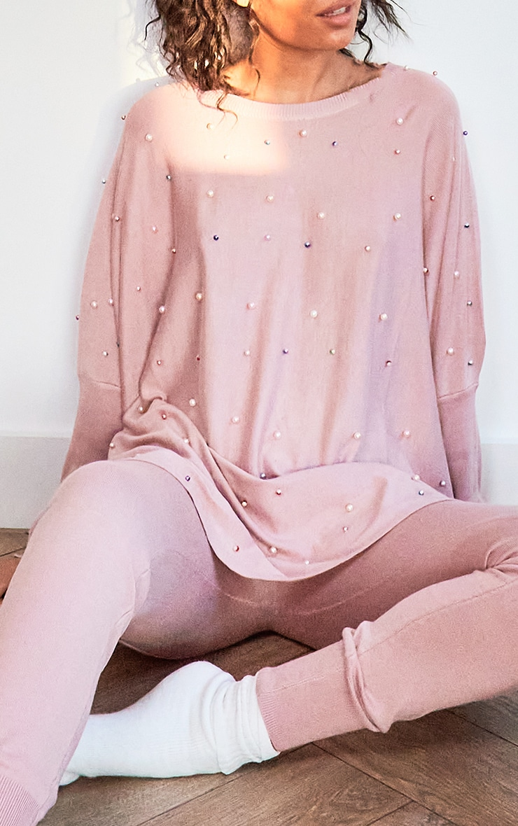Pink Knitted Oversized Pearl Lounge Set 4