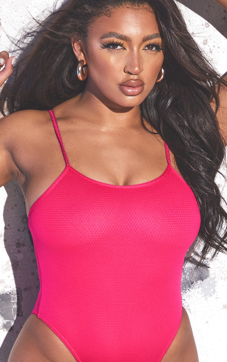 Hot Pink Waffle Scoop Neck Swimsuit 4