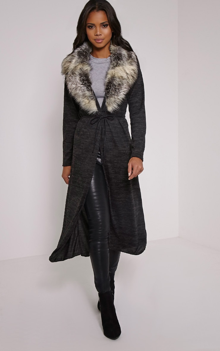 Cathie Grey Fur Collar Belted Cardigan 4