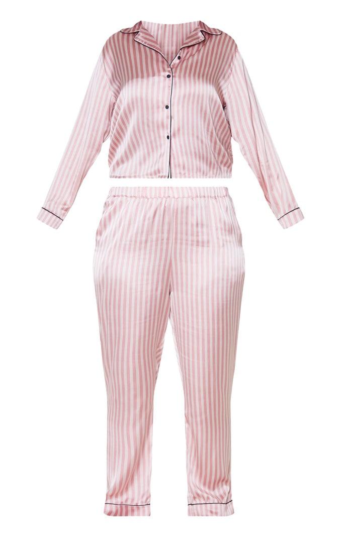 Plus Baby Pink Long Striped Satin PJ Set 3