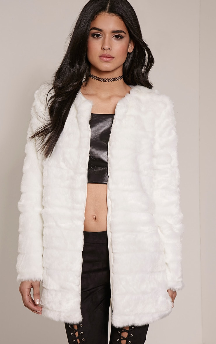 Marie White Faux Fur Striped Coat 1