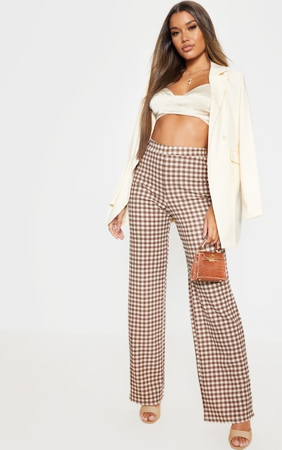 Tan Wide Leg Checked Trouser