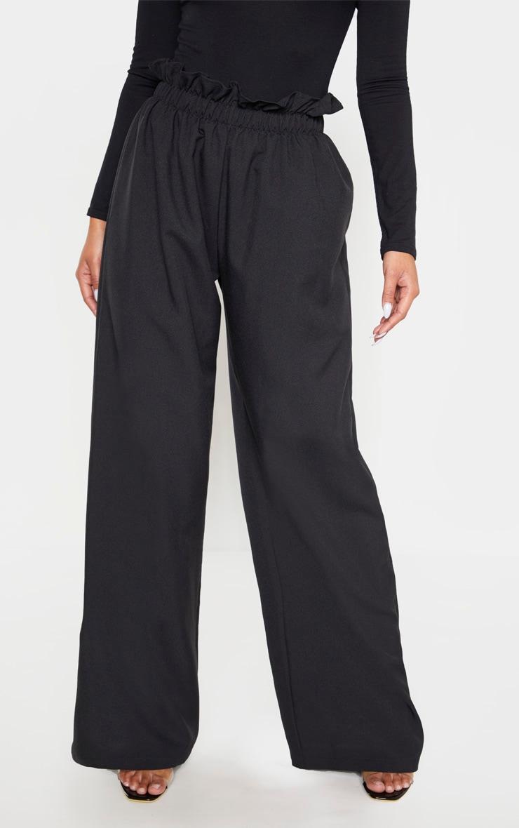 Black Woven Paperbag Waist Wide Leg Pants 3