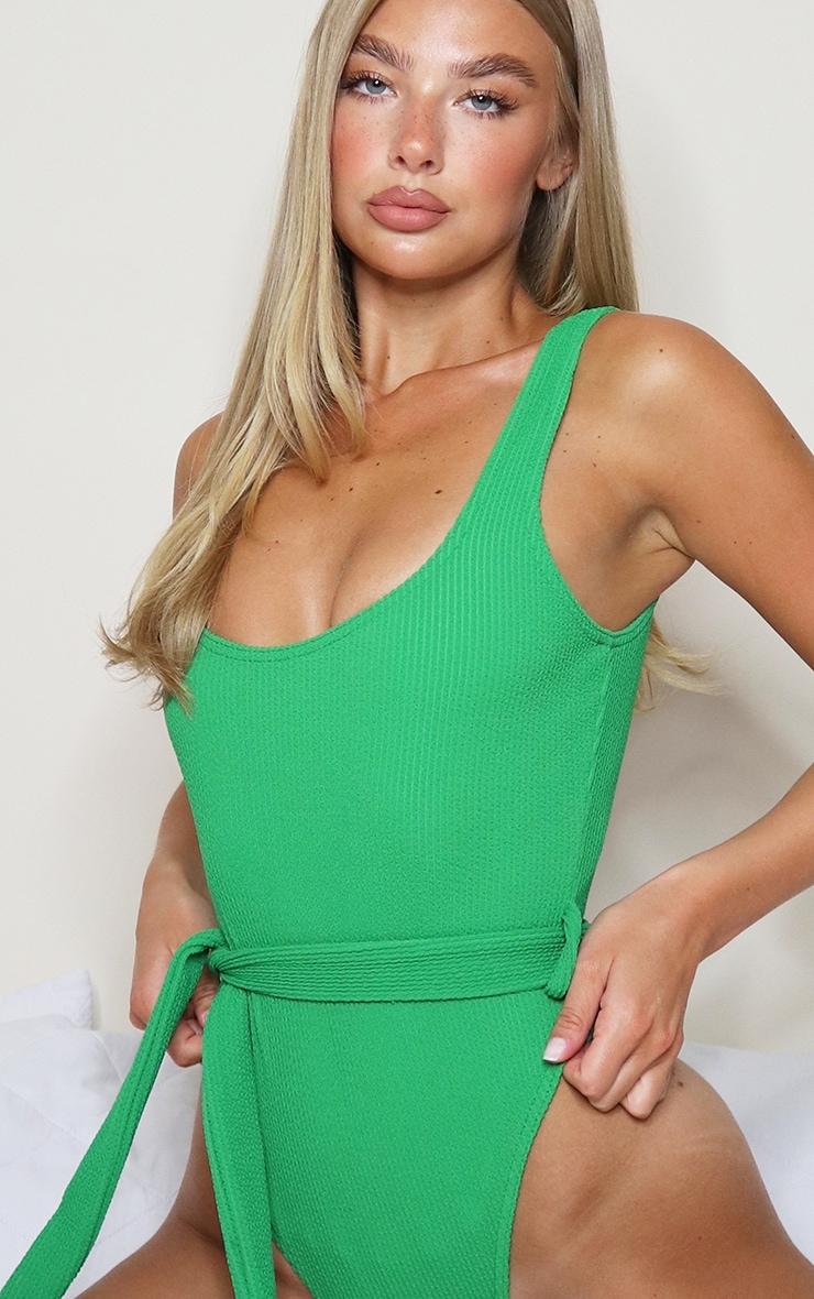 Green Tie Waist Crinkle Swimsuit 3