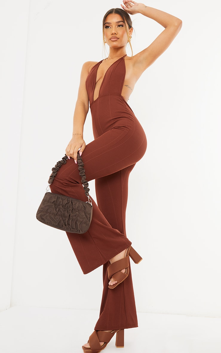 Chocolate Bandage Plunge Flared Leg Jumpsuit 1