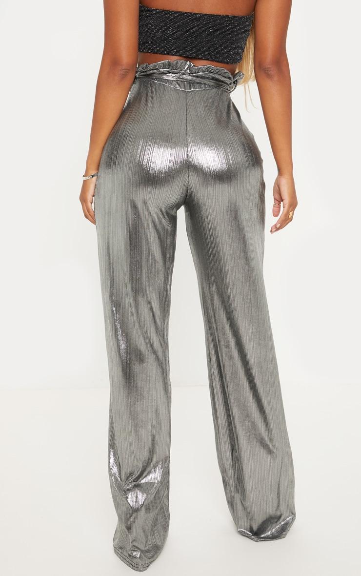 Shape - Pantalon paper bag argenté métallisé à jambes évasées 3
