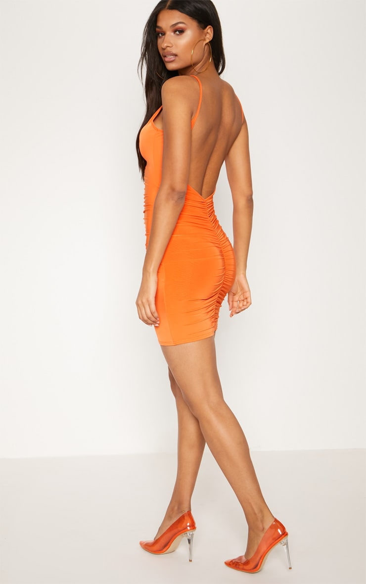 Bright Orange Slinky Ruched Scoop Back Bodycon Dress 2