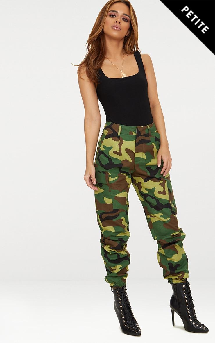 Petite Green Camo Print Cargo Pants 1