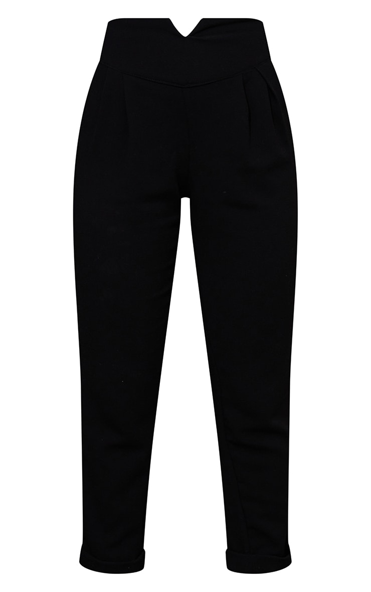 Petite Black High Waisted Tapered Trousers 5
