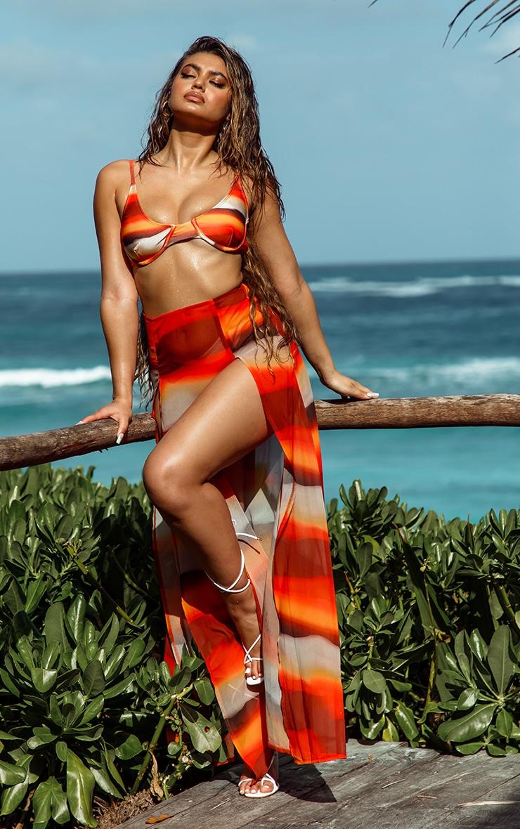 Orange Ombre Double Split Beach Maxi Skirt 1