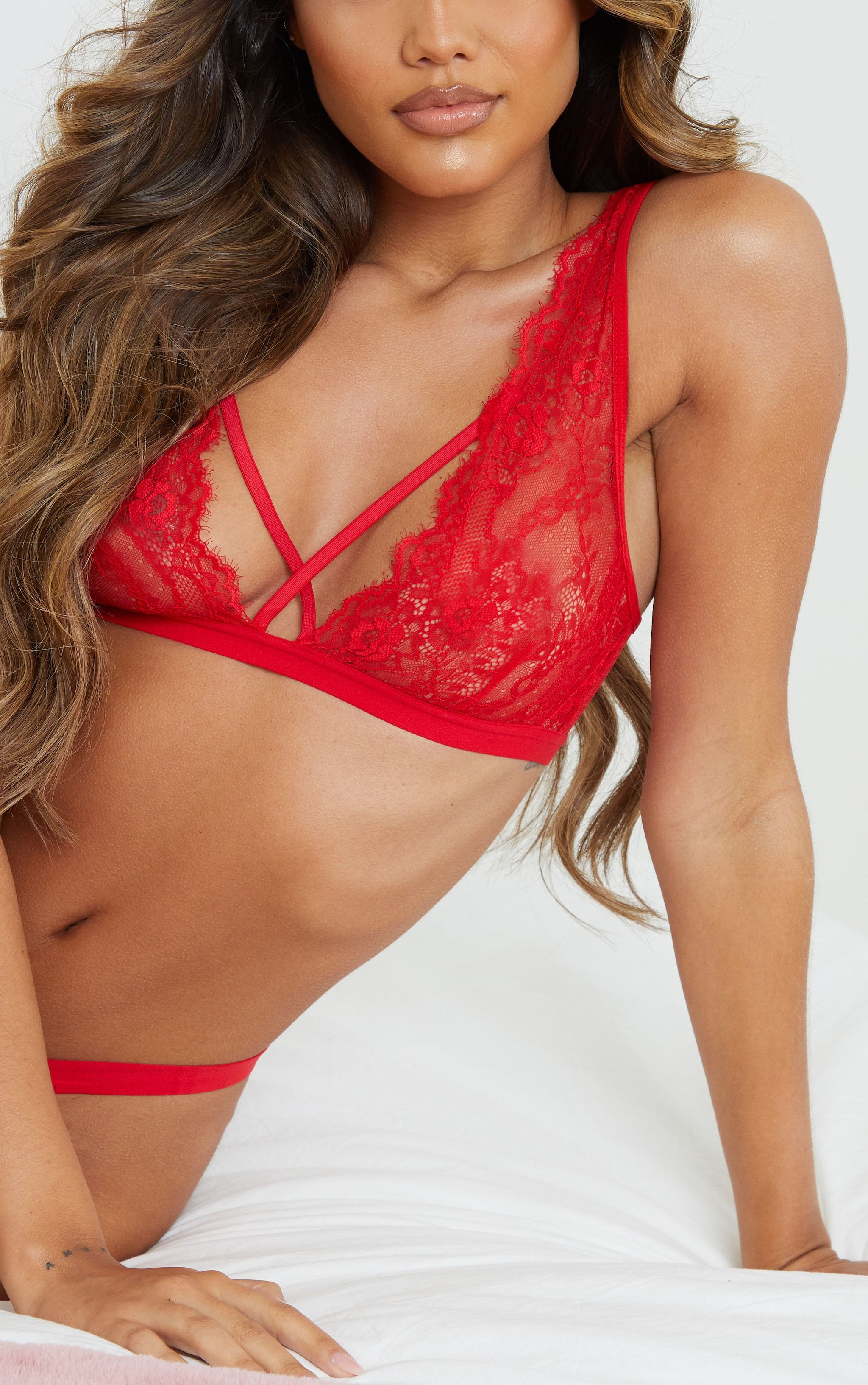 Red Cross Front Strap Lace Bra 4