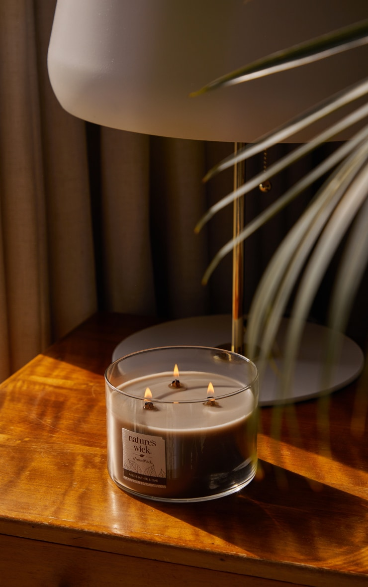 Natures Wick by Woodwick Three Wick Tumbler Oak & Leather 4