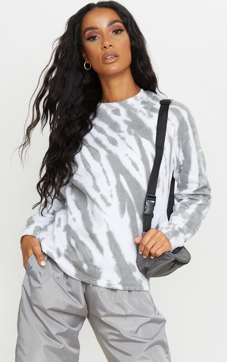 Grey Oversized Tie Dye Sweater 1