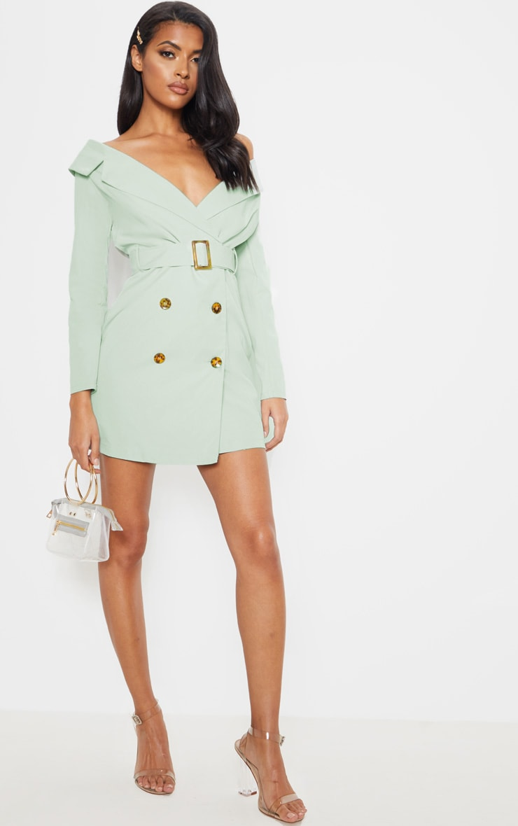 Sage Green Bardot Tortoise Button Belted Blazer Dress 3