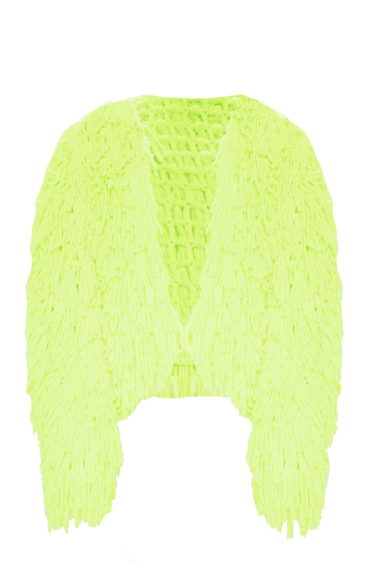 Neon Lime Knitted Shaggy Cardigan 4