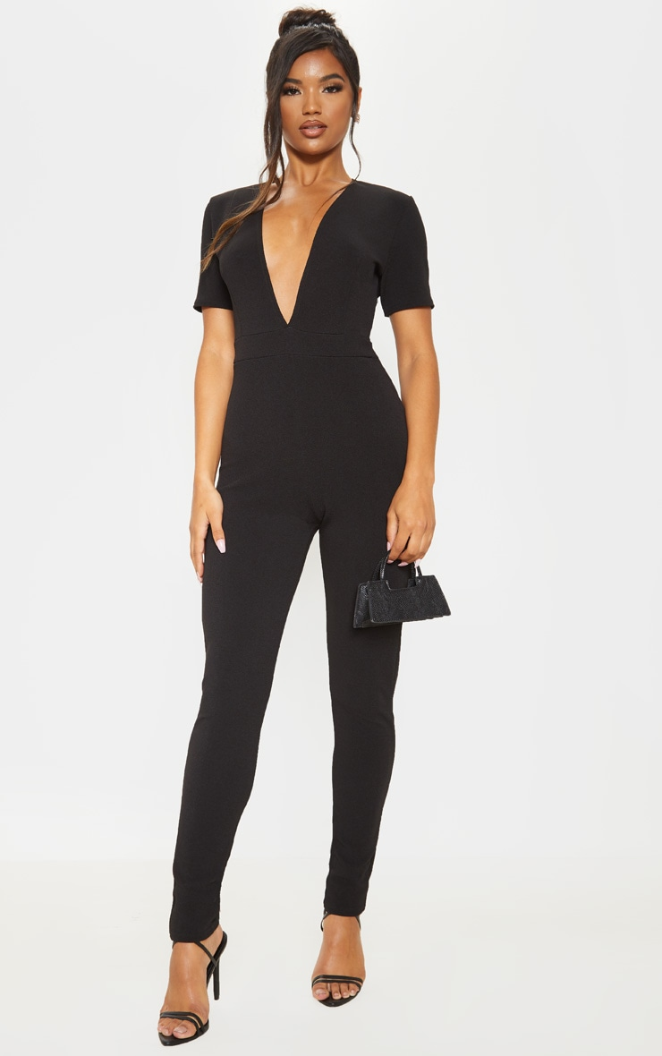 Black Short Sleeve Plunge Jumpsuit 1