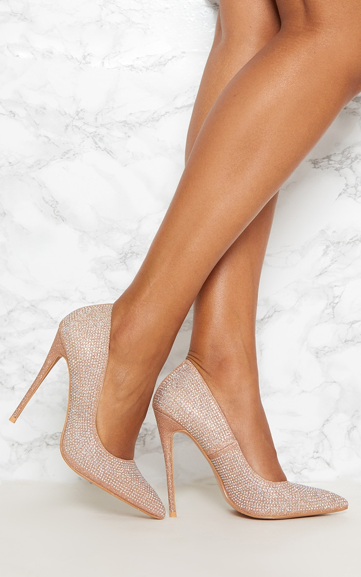 Nude Diamante Court Shoe