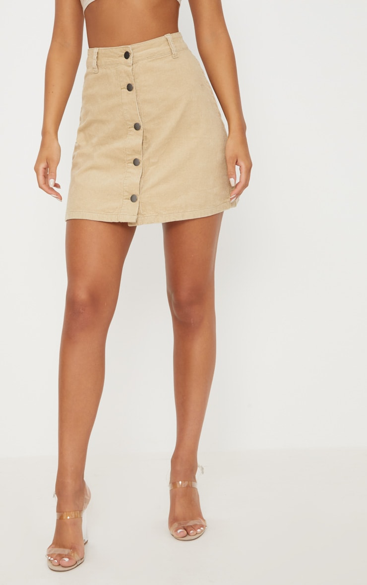Stone Cord Button Down Denim Skirt 2