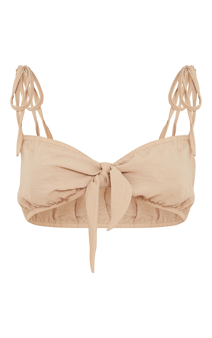 Stone Hammered Woven Tie Front Strappy Bralet 5