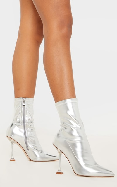 Silver Cake Stand Clear Heel Sock Boot