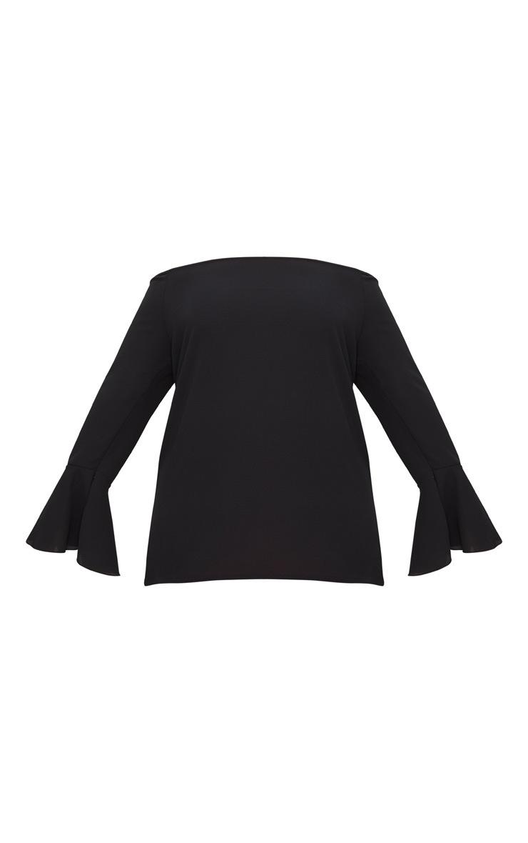 Plus Black Chiffon Bardot Long Sleeve Top 3