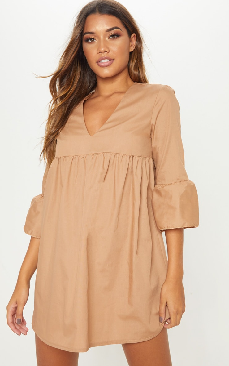 Camel 3/4 Sleeve Smock Dress 1