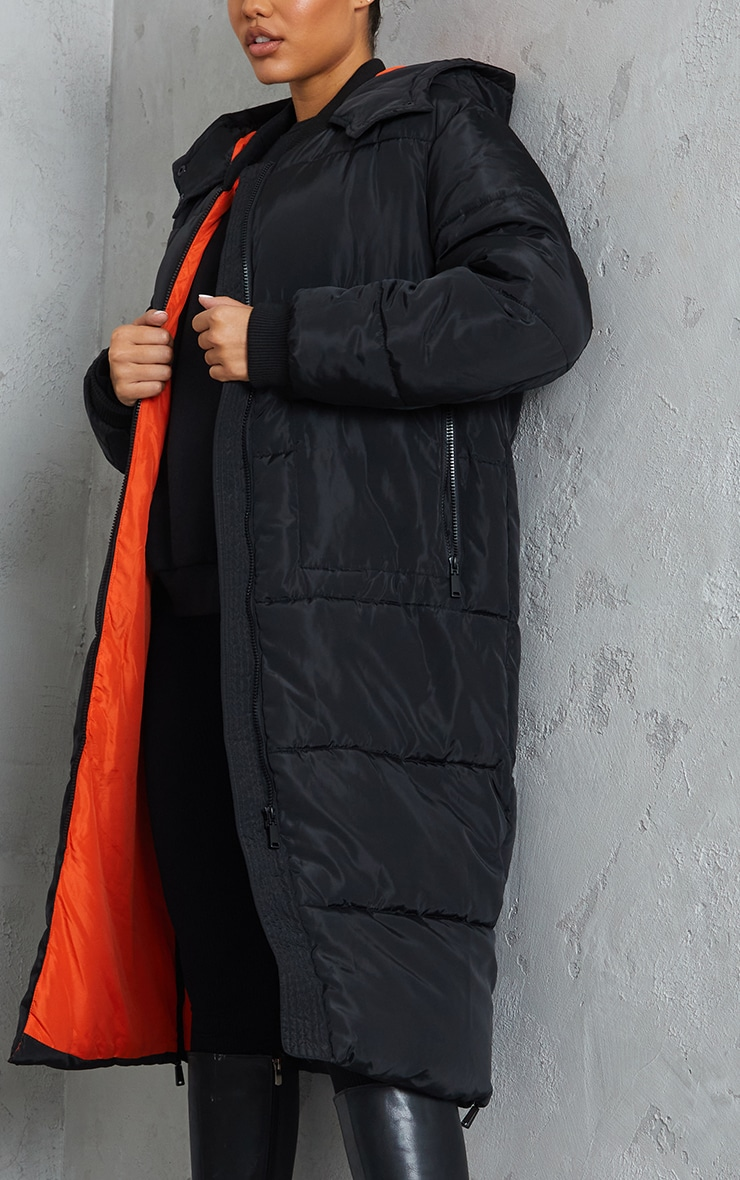 Black Maxi Contrast Hooded Puffer 4