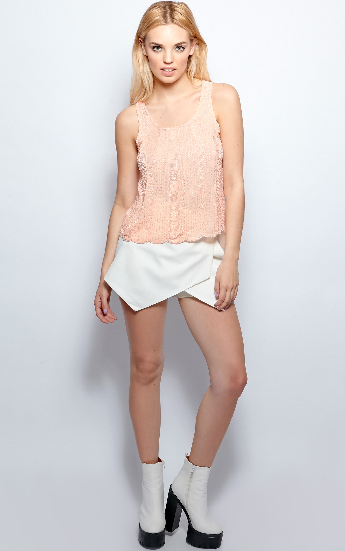 Raine Peach Embellished Cami  5