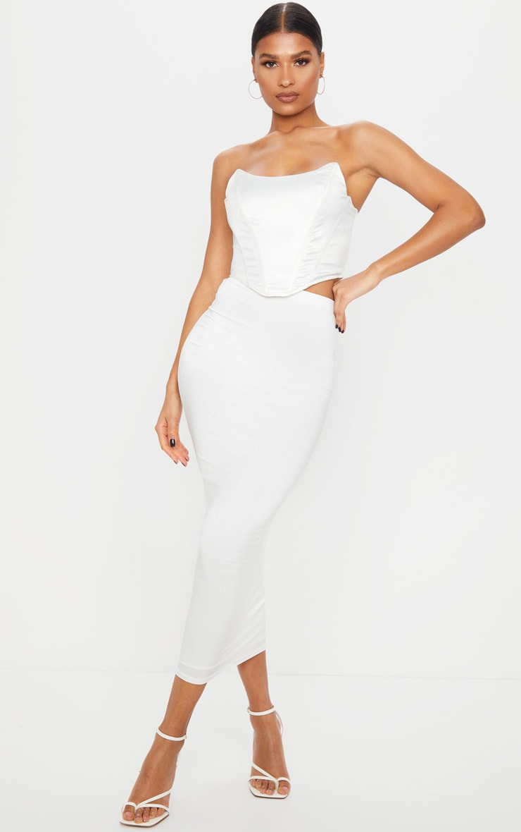 White Second Skin Slinky Midaxi Skirt 1