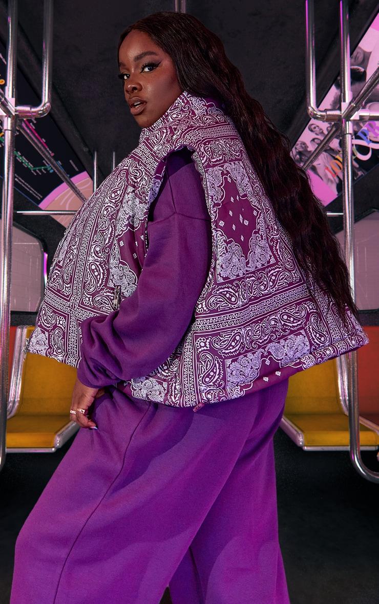 Plus Purple Unisex Paisley PU Oversized Vest 3