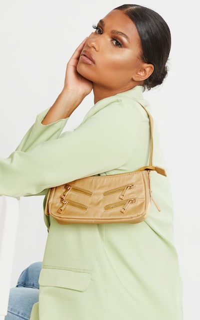 Camel Satin Front Zip Detail Shoulder Bag