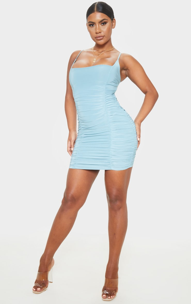 Dusty Turquoise Slinky Strappy Ruched Side Detail Bodycon Dress