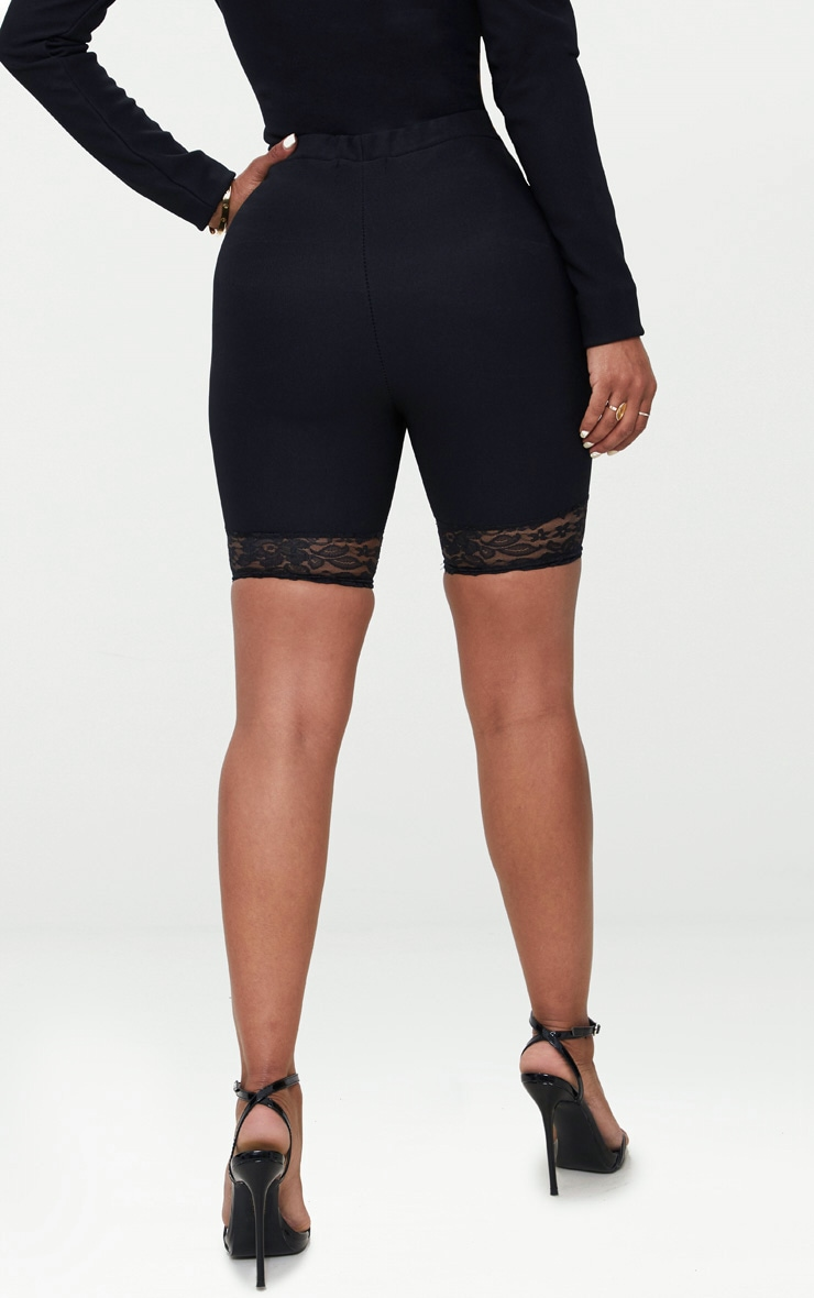 Shape Black Ribbed Lace Trim Cycling Shorts 4