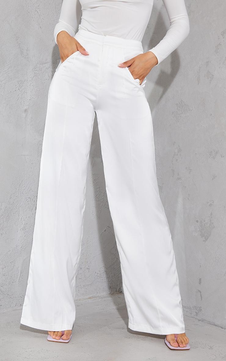 White Satin Pintuck Pocket Detail Wide Leg Pants 2